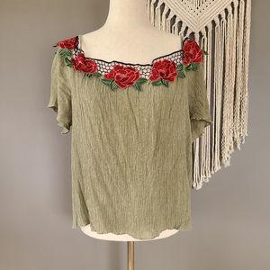 Love J | Floral Appliqué Mesh Moss Green Top 2X